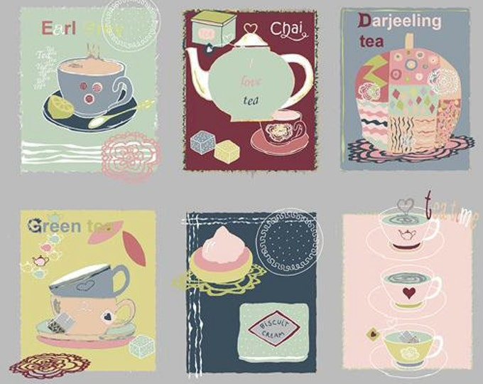 Five O'Clock Tea by Stof Fabrics of Denmark - Tea Flavors Gray - Cotton Woven Fabric