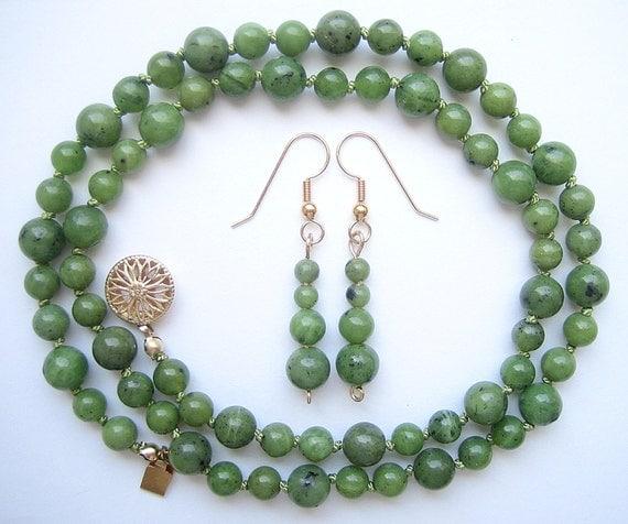 Genuine Jade Beads: Genuine BC Jade Bead Set Necklace & Earrings Natural