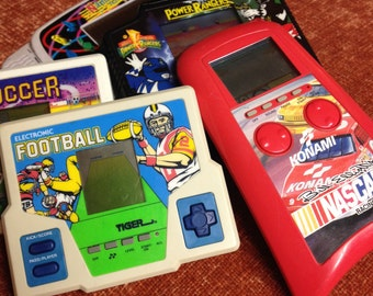 5 Vintage hand-held electronic games - Power Rangers, Football