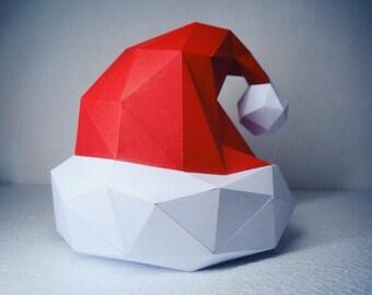 Santa Claus Hat papercraft model DIY template
