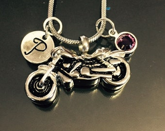 "Cremation Jewelry ""motorcycle"" Pendant Keepsake Urn Necklace with FREE 20"" Chain & Fill Kit Choose Initial and Birthstone"
