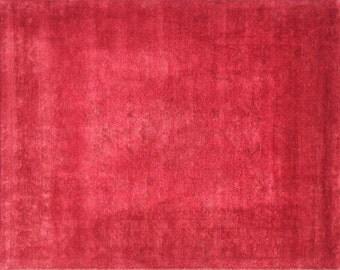 Overdye red wool rug