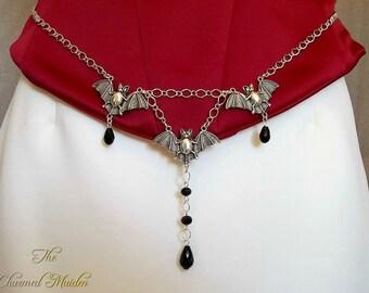 Bat Girdle Belt, Gothic Girdle Belt, Halloween Belt, Wicca Girdle Belt, All Hallows Eve, Halloween Costume Jewelry, Vampire Bat, Jet Black