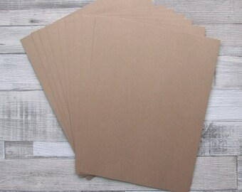 10 Sheets of Recycled Kraft Brown Manilla A4 Size Card 280g