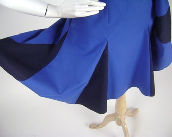 Blue Lindy Hop High Waisted Skirt with Suspenders