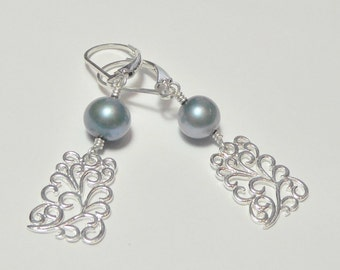 Blue Pearl and Sterling Silver Filigree Earrings