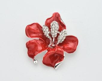 Red Flower Brooch Crystal Red Hibiscus Brooch Wedding Jewelry Bouquet Brooch Bridal Brooch