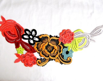 Flower Garden  Patch/ Embroidery Applique/Flower Applique/DIY Craft/Costume Accessory/Fashion Craft/Sew on Patch