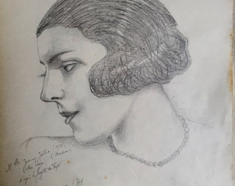 Portrait of a woman with bobbed hair (antique drawing)