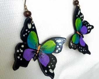 Butterfly Coconut Earrings - Handmade