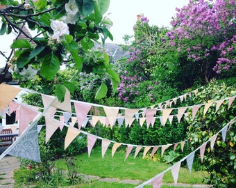 Handmade bunting, Pink/ Peach and Grey coulours,Long bunting, Birthday party/Wedding decoration/Garden party decoration