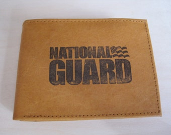 "Mankind Wallets Men's Leather RFID Blocking Billfold w/ ""United States National Guard"" Image~Makes a Great Gift!"
