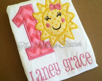 Girl Birthday Shirt, Sunshine Shirt, Sun Shine Birthday shirt, First second third fourth birthday,Sun Birthday Shirt, Sunshine Bow,