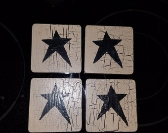 Primitive black star coasters  country, black tan rustic