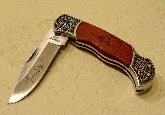 Circus life knife rosewood from aerialascendance on etsy for Jewelry engraving gainesville fl