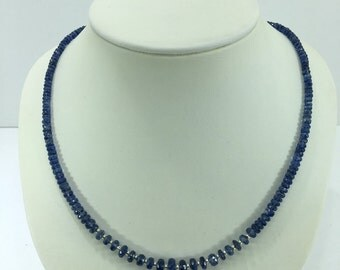 SALE 30% OFF Kyanite and Sterlig Silver Beaded Necklace - E79