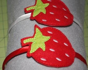 Strawberry slider headband, Hair accessory, Felt headband, Embroidered headband