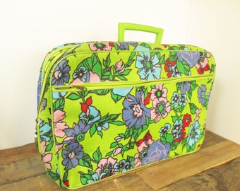 Vintage Suitcase. 1960's Carry On Canvas and Vinyl Paisley Suitcase or Laptop Bag. Funky Paisley Design in Lime Green, Pink and Teal.