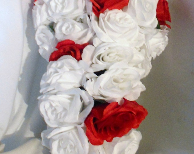 White and red cascade bridal bouquet 2 pc