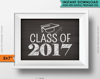 "Class of 2017 Sign, Graduation Sign, Grad Party Sign, High School 2017 Grad College, Instant Download 5x7"" Chalkboard Style Printable Sign"