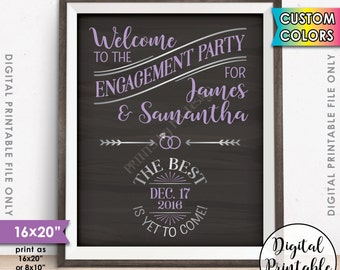 "Engagement Party Sign, Engagement Party Decorations, We're Engaged Engagement Celebration Sign, 8x10/16x20"" Chalkboard Style Printable Sign"