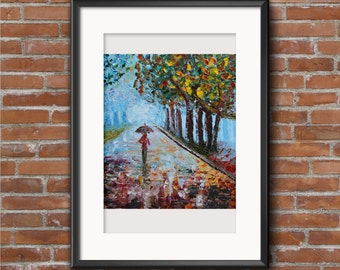 Rainy Day Painting - Rainy Autumn Painting - Oil Painting - Rain Scene Oil Painting - Park Oil Painting - Walk in the Park Oil Painting