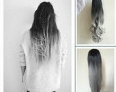 2016 Most Fashion & Amazing Long Ombre Dip Dyed Half  Head Wig (Col. Natural black to Silver Grey)