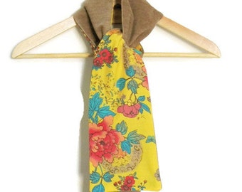 Reversible scarf, light brown cotton corduroy, and yellow butterlfy and flower cotton, spring scarf, long scarf, soft scarf, floral scarf