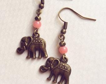 Rosy elephant earrings