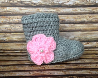 Knit Crochet Baby Flower Booties - Baby Photo Prop - Handmade - MADE TO ORDER
