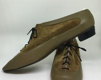 60s VTG Rare Unique Leather Low Ankle Booties Oxford Shoes 6 - 6.5