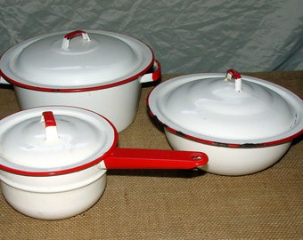 Red White Enamelware Great Planters Inside or Out Rustic Outdoor Planter Decor