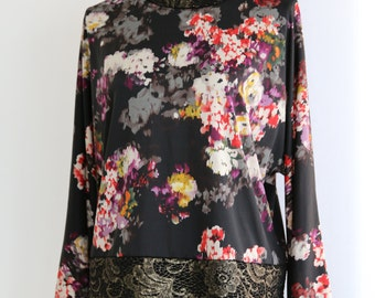 Multi-coloured flower print top, with dolman sleeves
