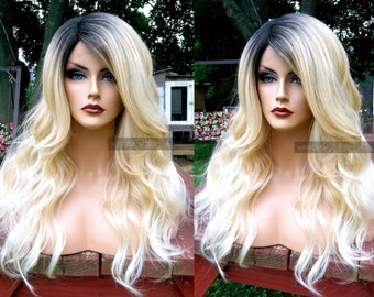 Blonde Lace Front Wig // Wavy Blonde HEAT SAFE Baby Hair // Deep Lace Part Curly Platinum Wig w/ Ombre Dark Roots