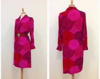 KEN SCOTT vintage 70s magenta silk shirt dress size S/M