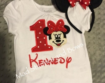 Minnie mouse embroidered first birthday shirt with ears headband .