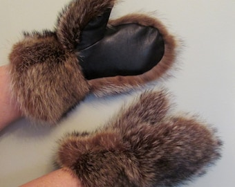 Raccoon fur mittens