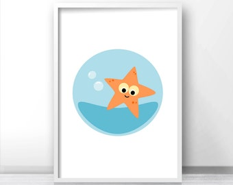 Starfish Nursery Art Print, Blue Orange Starfish Decor, Ocean Animal Nursery Print, Sea Animal Art, Nursery Wall Print, Under The Sea Print