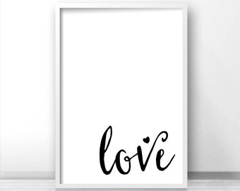 Love Wall Art Printable, Digital Download Art, Home Decor Wall Art Print, Love Typography Print, Black And White Minimalist Wall Art Print