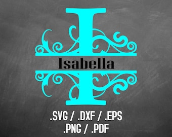 Davenport Split Font Design Files For Use With Your Silhouette Studio Software, SVG Instant Font Download, DXF Files, Initials Silhouette