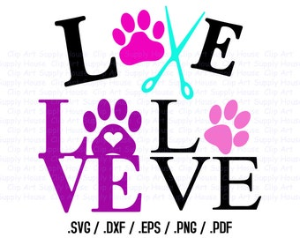 Animal Pet Love SVG Clipart, SVG Office Wall Art, Pet SVG File, Silhouette Studio, Cricut Design, Brother Scan Cut, Die Cut Machines - CA240