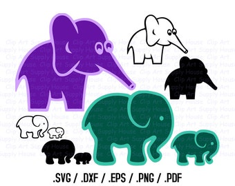 Elephant SVG Clipart Files, Elephant Clipart, Silhouette Studio, Cricut Design, Brother Scan, Scal, DXF File, SVG file, eps File CA265