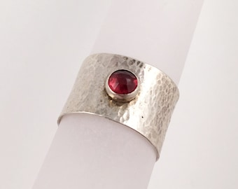 Faceted Garnet on Wide Hammered Silver Band, Size 6.5