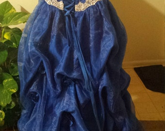blue formal layered floor length gown size 4womens