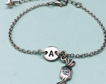 Candy charm bracelet, candy charm, adjustable bracelet, personalized bracelet, initial bracelet, monogram