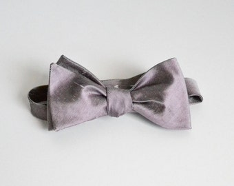 Purple Silver Bow Ties