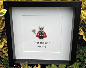 Thor, Minifigure Frame, Nerdy Office Decor, Gift for Him, Anniversary Idea, Superhero Gift, Valentines Idea, Romantic Geekery, Birthday Love