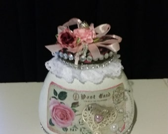 decoupage glass jar
