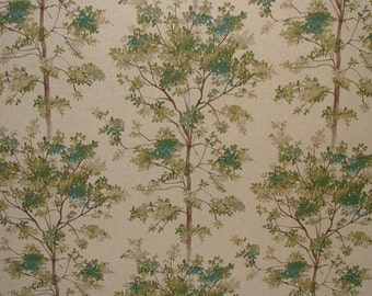 Woodland Trees On Linen Look Designer Fabric - Curtain Upholstery Crafts Blinds