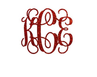 glitter monogram iron on decal custom iron on letters iron on vinyl monogram